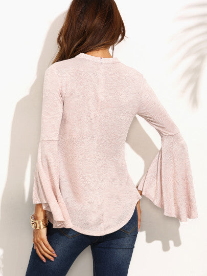 Pink Cut Out Ruffle Long Sleeve T-shirt - The Style Syndrome  - 4