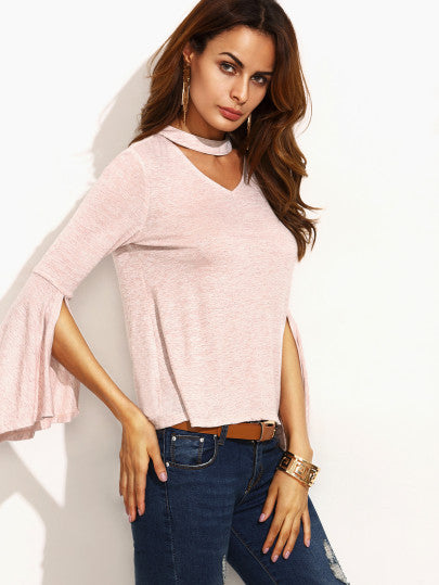 Pink Cut Out Ruffle Long Sleeve T-shirt - The Style Syndrome  - 2