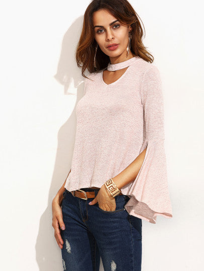 Pink Cut Out Ruffle Long Sleeve T-shirt - The Style Syndrome  - 3