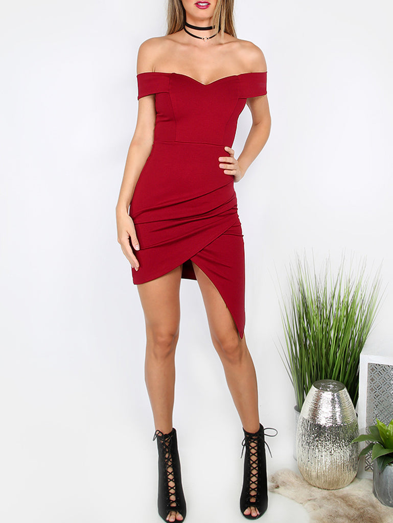 Red Sweetheart Off The Shoulder Asymmetrical Bodycon Dress - The Style Syndrome  - 1