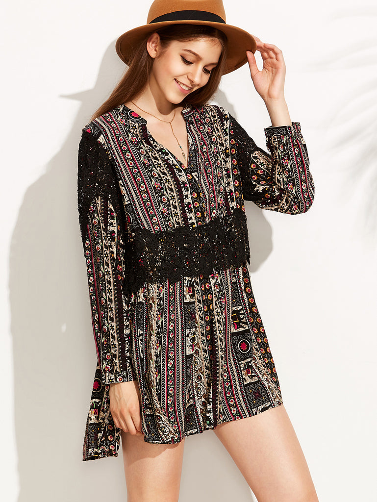Vintage Print V Neck Contrast Crochet Dress - The Style Syndrome  - 1