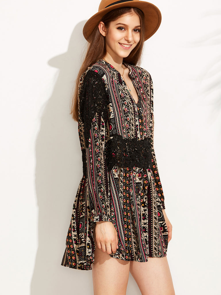 Vintage Print V Neck Contrast Crochet Dress - The Style Syndrome  - 3