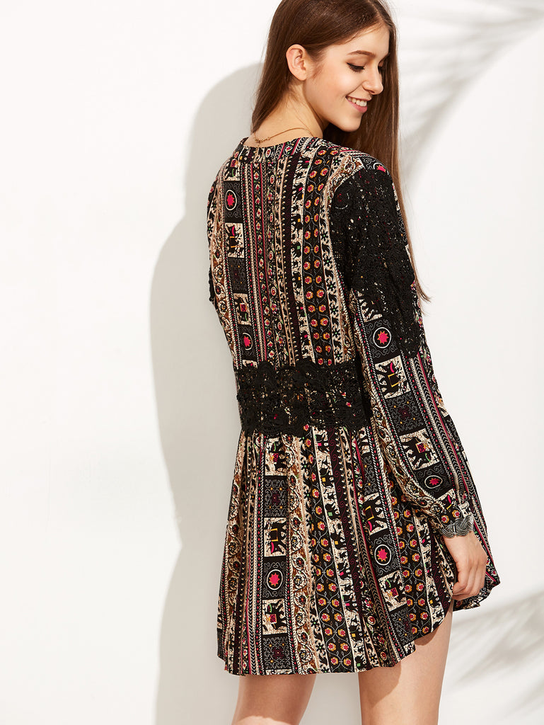 Vintage Print V Neck Contrast Crochet Dress - The Style Syndrome  - 4