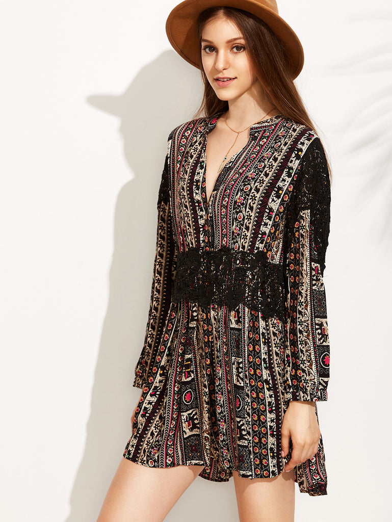 Vintage Print V Neck Contrast Crochet Dress - The Style Syndrome  - 2