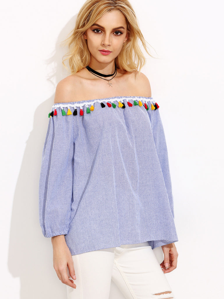 Blue Striped Off The Shoulder Tassel Trim Top - The Style Syndrome  - 3