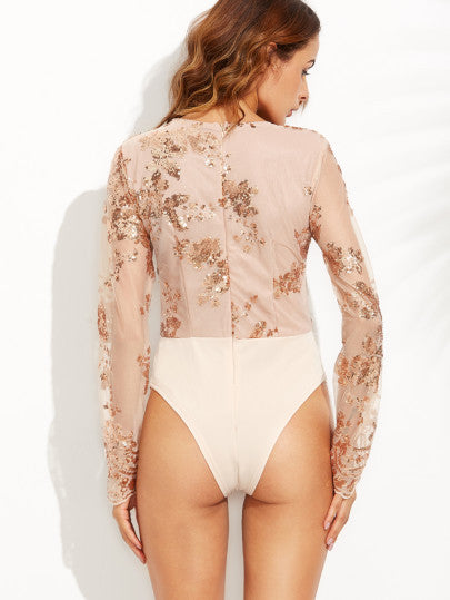 Scalloped V Neck Sequins Embroidered Long Sleeve Gold Bodysuit - The Style Syndrome  - 4