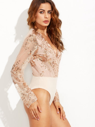 Scalloped V Neck Sequins Embroidered Long Sleeve Gold Bodysuit - The Style Syndrome  - 3
