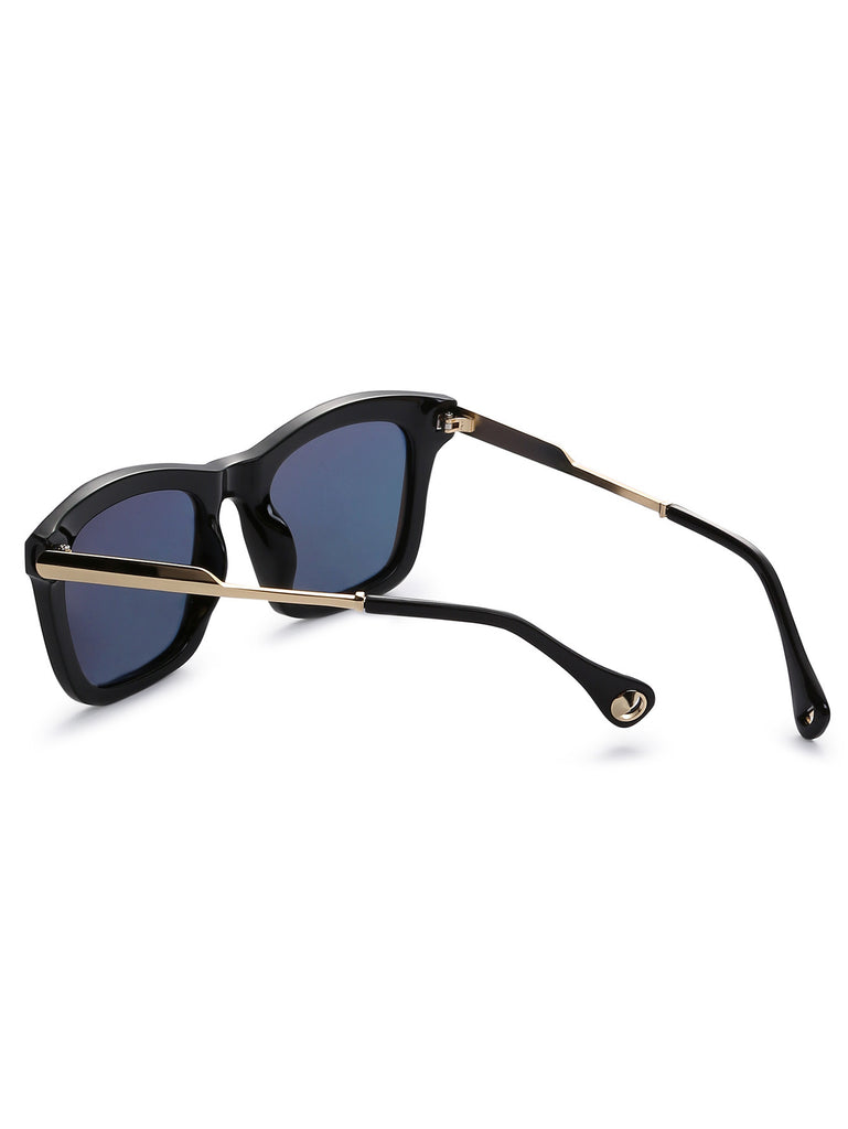 Black Frame Metal Trim Iridescent Lens Sunglasses - The Style Syndrome