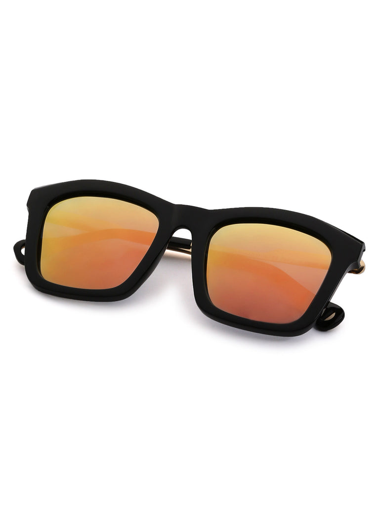 Black Frame Metal Trim Iridescent Lens Sunglasses - The Style Syndrome  - 3