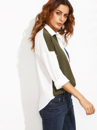 Color Block Lapel Pocket Long Sleeve Blouse - The Style Syndrome  - 2