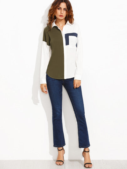 Color Block Lapel Pocket Long Sleeve Blouse - The Style Syndrome  - 4