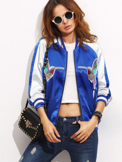Color Block Patchwork Long Sleeve Bomber Jacket RZX - The Style Syndrome  - 1