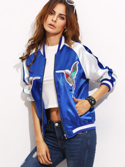 Color Block Patchwork Long Sleeve Bomber Jacket RZX - The Style Syndrome  - 2