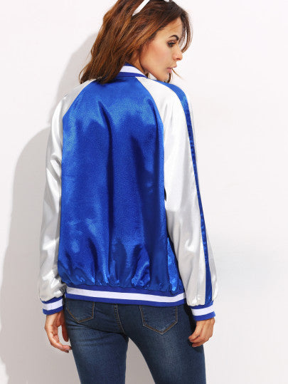 Color Block Patchwork Long Sleeve Bomber Jacket RZX - The Style Syndrome  - 3