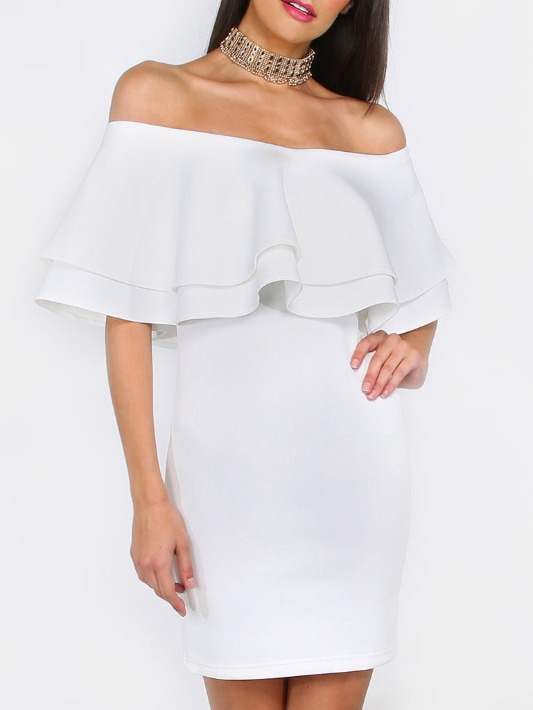 White Ruffle Off The Shoulder Bodycon Dress - The Style Syndrome  - 1
