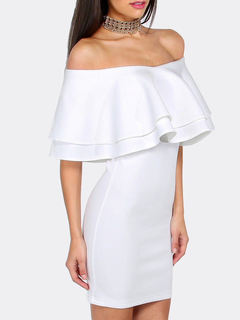 White Ruffle Off The Shoulder Bodycon Dress - The Style Syndrome  - 2