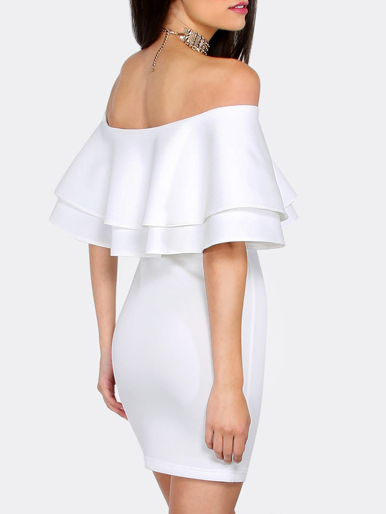 White Ruffle Off The Shoulder Bodycon Dress - The Style Syndrome  - 3
