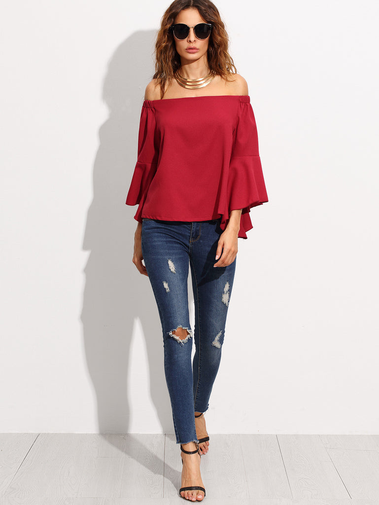 Burgundy Off The Shoulder Bell Sleeve Blouse - The Style Syndrome  - 5