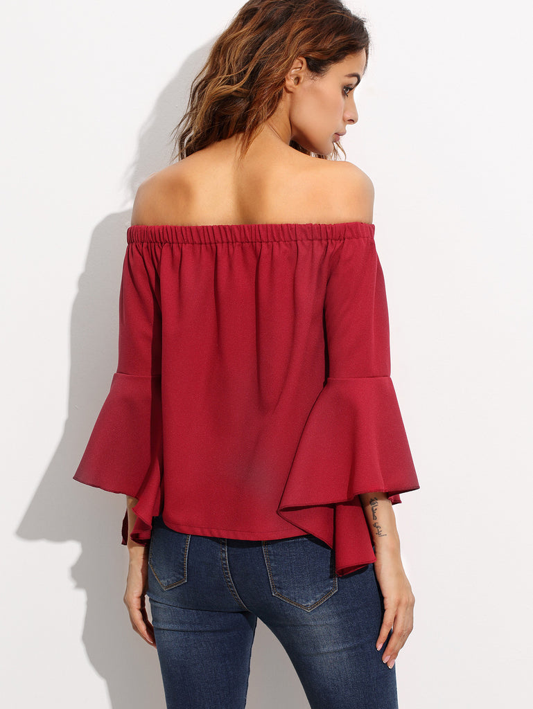 Burgundy Off The Shoulder Bell Sleeve Blouse - The Style Syndrome  - 4