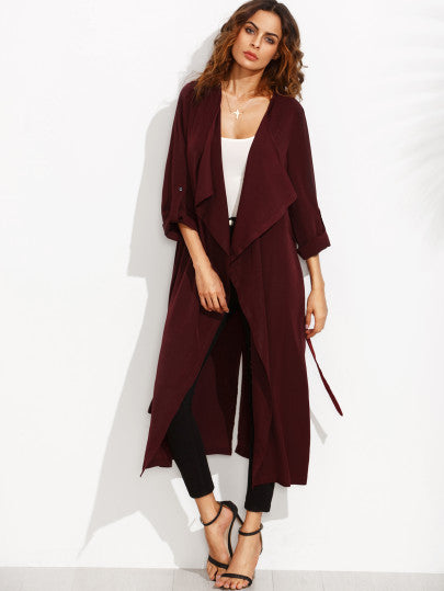 Burgundy Lapel Rolled Up Sleeve Split Long Outerwear - The Style Syndrome  - 1
