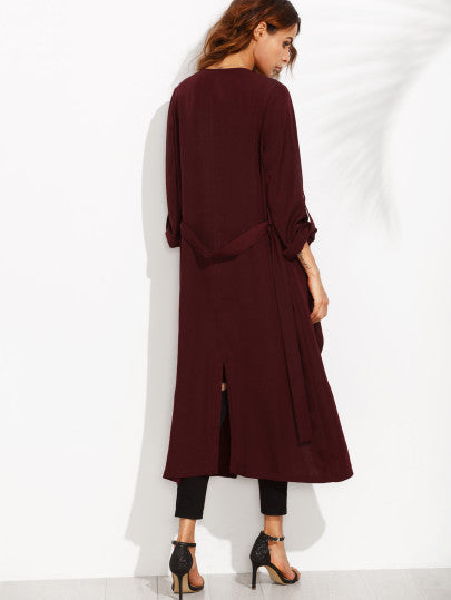 Burgundy Lapel Rolled Up Sleeve Split Long Outerwear - The Style Syndrome  - 3