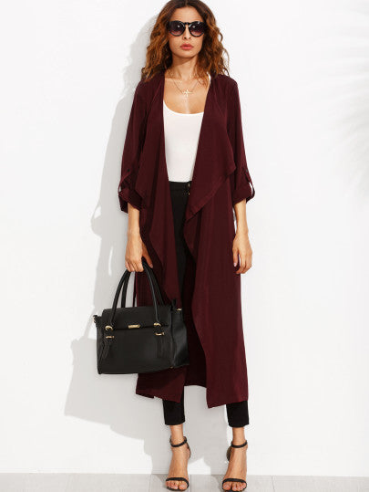 Burgundy Lapel Rolled Up Sleeve Split Long Outerwear - The Style Syndrome  - 4