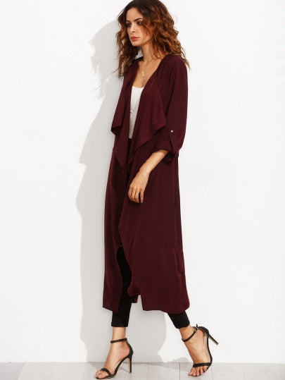 Burgundy Lapel Rolled Up Sleeve Split Long Outerwear - The Style Syndrome  - 2