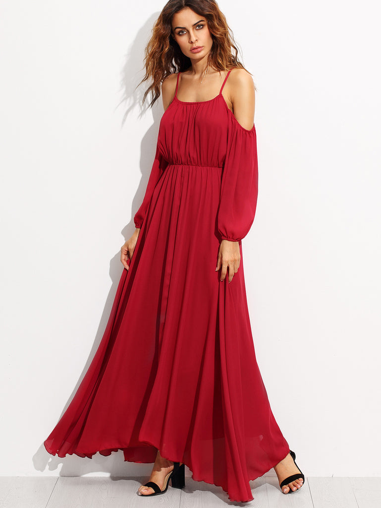 RZX Burgundy Cold Shoulder Elastic Waist Chiffon Dress - The Style Syndrome  - 1