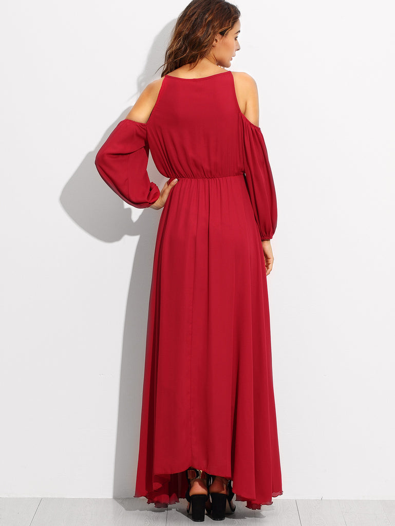 RZX Burgundy Cold Shoulder Elastic Waist Chiffon Dress - The Style Syndrome  - 4
