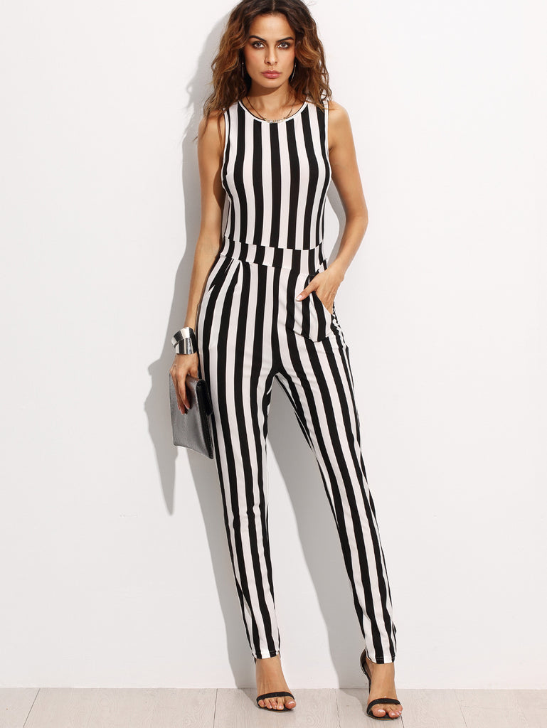 Contrast Vertical Stripe Sleeveless Keyhole Back Jumpsuit - The Style Syndrome  - 1