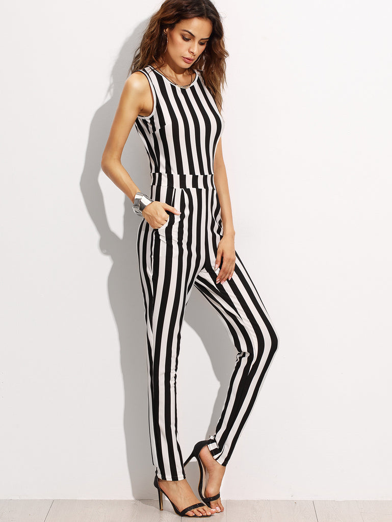 Contrast Vertical Stripe Sleeveless Keyhole Back Jumpsuit - The Style Syndrome  - 3
