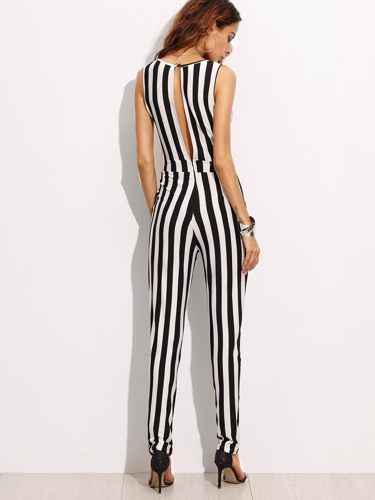 Contrast Vertical Stripe Sleeveless Keyhole Back Jumpsuit - The Style Syndrome  - 4