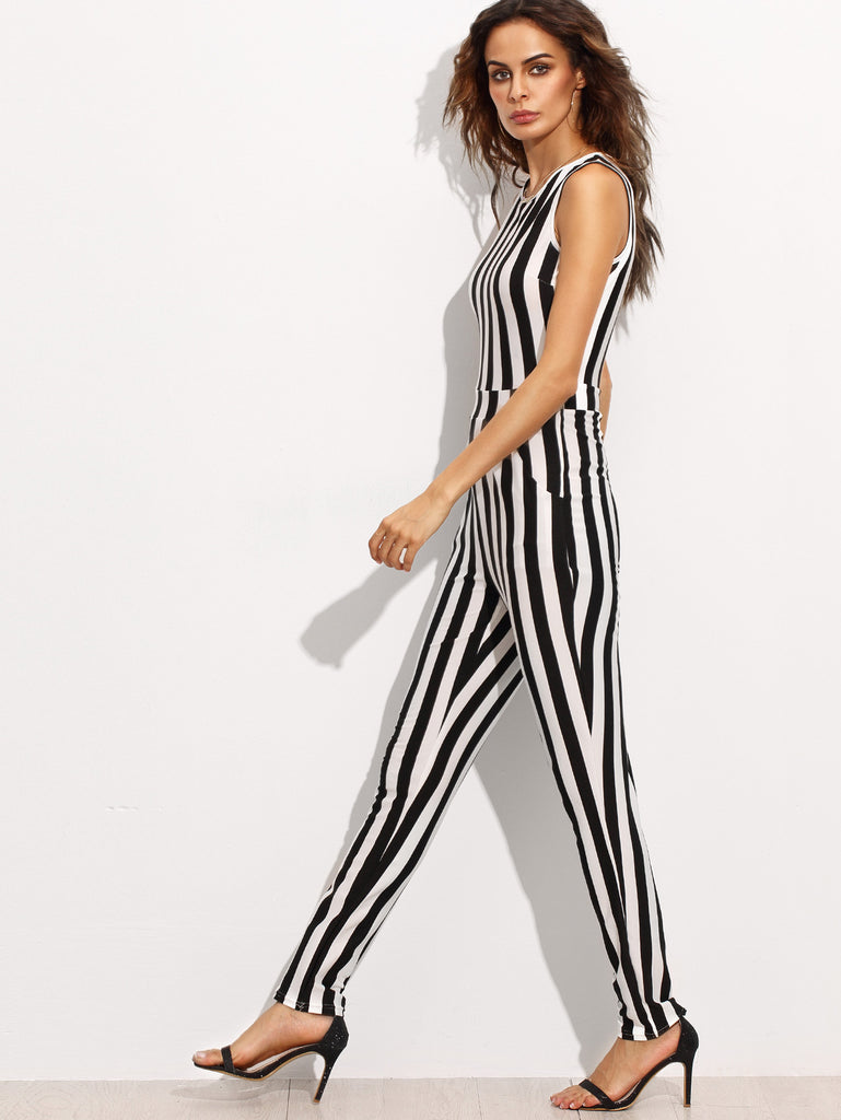 Contrast Vertical Stripe Sleeveless Keyhole Back Jumpsuit - The Style Syndrome  - 2
