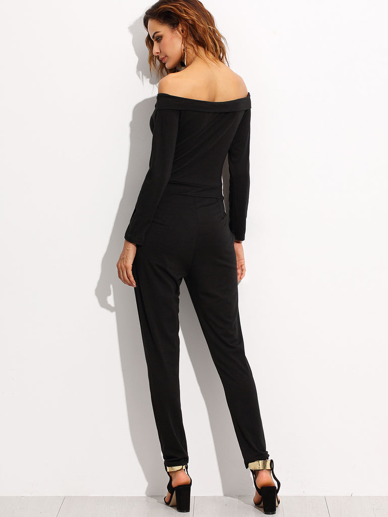 Black Off The Shoulder Peg Jumpsuit - The Style Syndrome