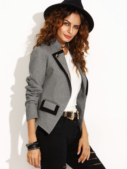 Grey Lapel Button Pocket Long Sleeve Blazer - The Style Syndrome  - 2