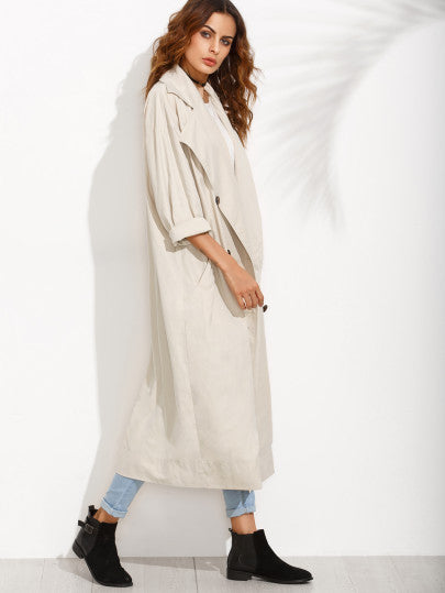 Apricot Lapel Button Long Sleeve Outerwear RZX - The Style Syndrome