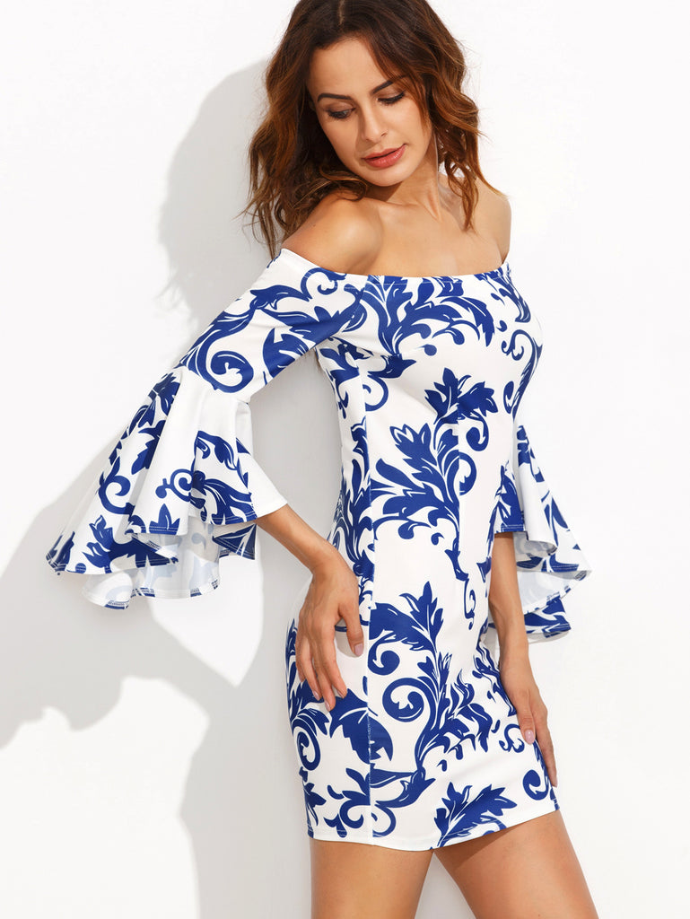 Print in White Off The Shoulder Bell Sleeve Bodycon Dress - The Style Syndrome  - 2