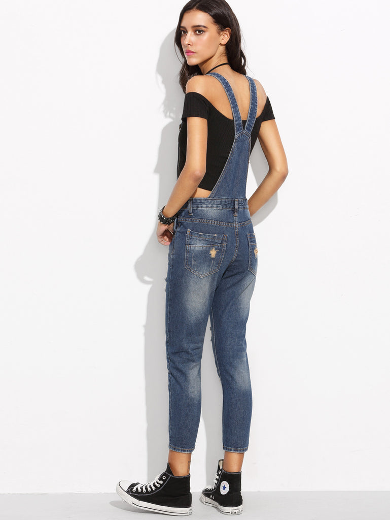 Blue Straps Ripped Letters Print Denim Overall Jeans - The Style Syndrome  - 4