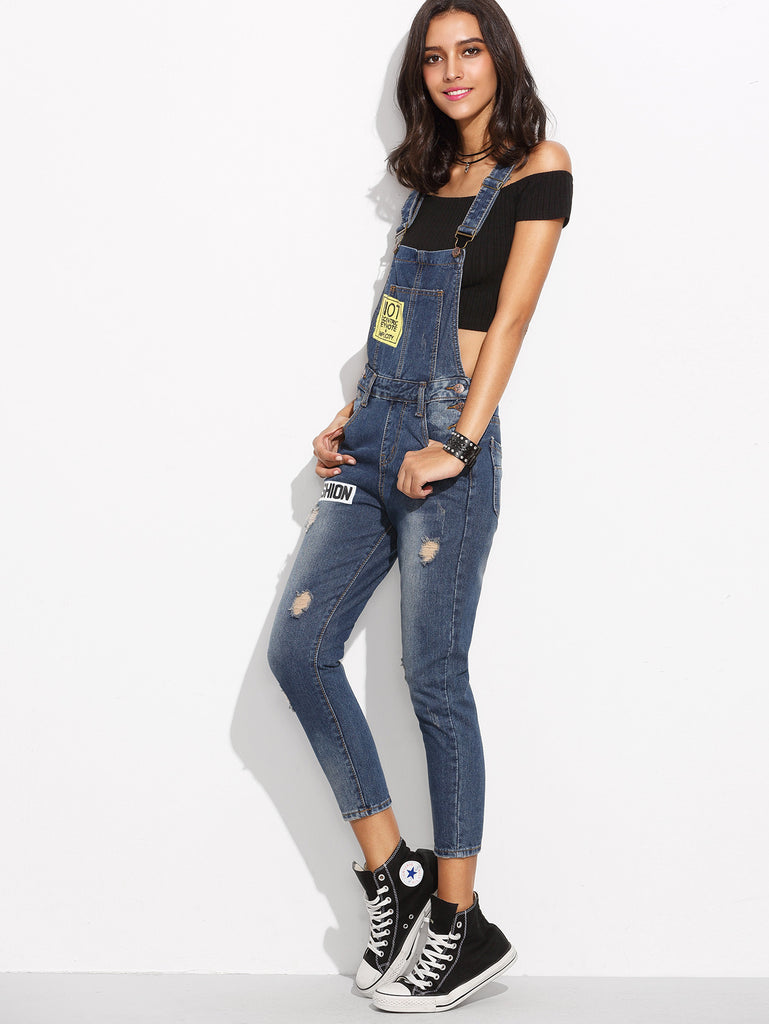 Blue Straps Ripped Letters Print Denim Overall Jeans - The Style Syndrome  - 3