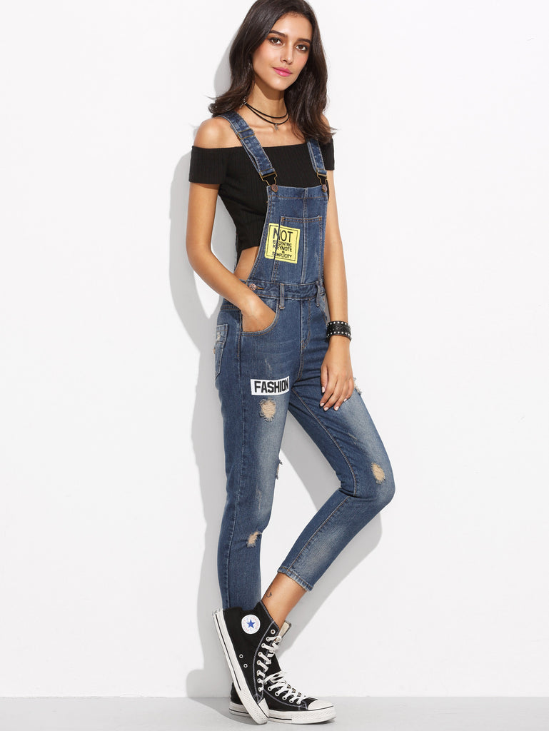 Blue Straps Ripped Letters Print Denim Overall Jeans - The Style Syndrome  - 2