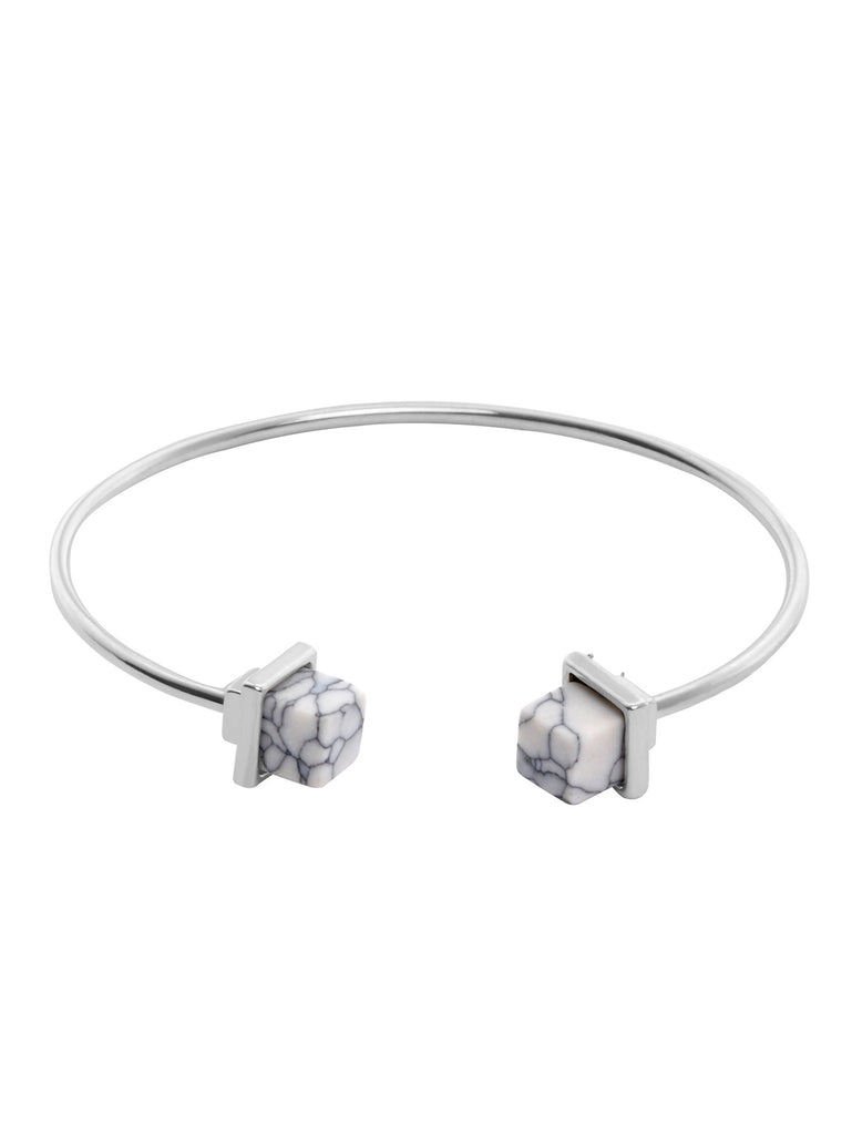 Silver Metal White Howlite Small Open Bangle - The Style Syndrome
