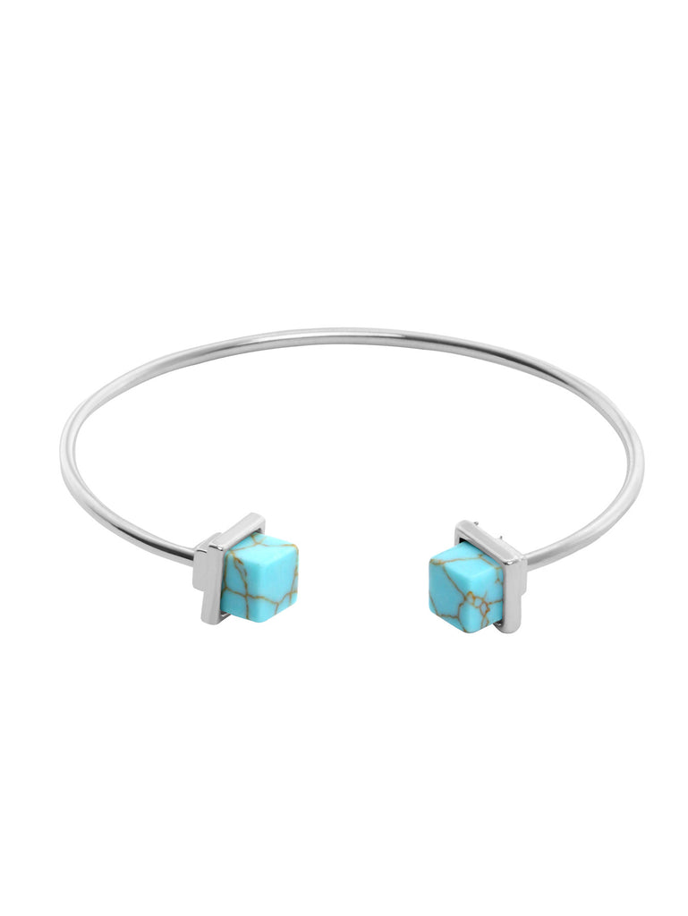 Silver Metal Turquoise Small Open Bangle - The Style Syndrome
