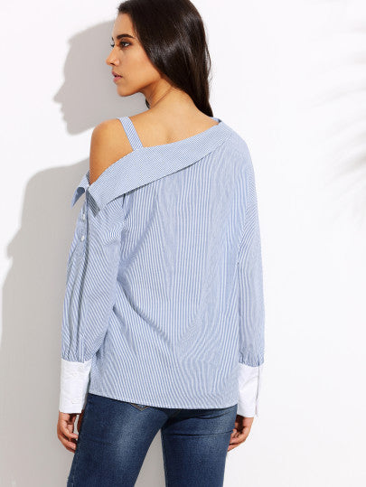 Blue Striped Fold Over Asymmetric Shoulder Contrast Cuff Blouse - The Style Syndrome  - 4