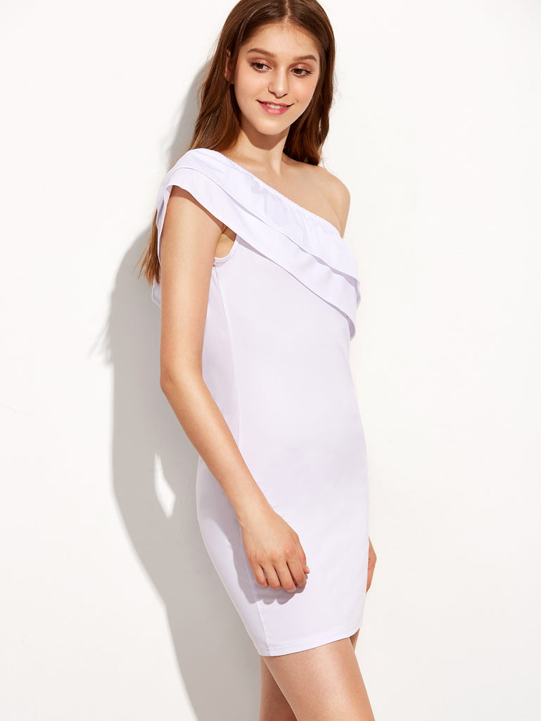 White One Shoulder Layered Sheath Dress - The Style Syndrome  - 4