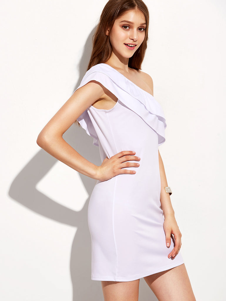 White One Shoulder Layered Sheath Dress - The Style Syndrome  - 3