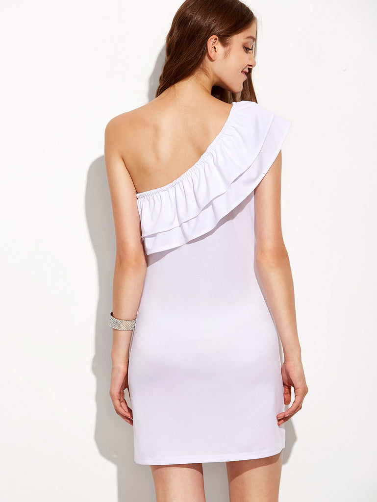 White One Shoulder Layered Sheath Dress - The Style Syndrome  - 2