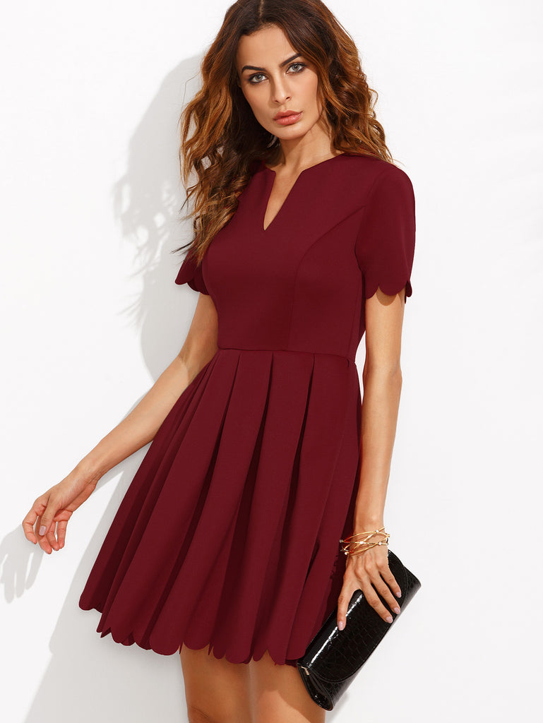 Burgundy Split Neck Scalloped Trim Fit And Flare Dress - The Style Syndrome  - 1