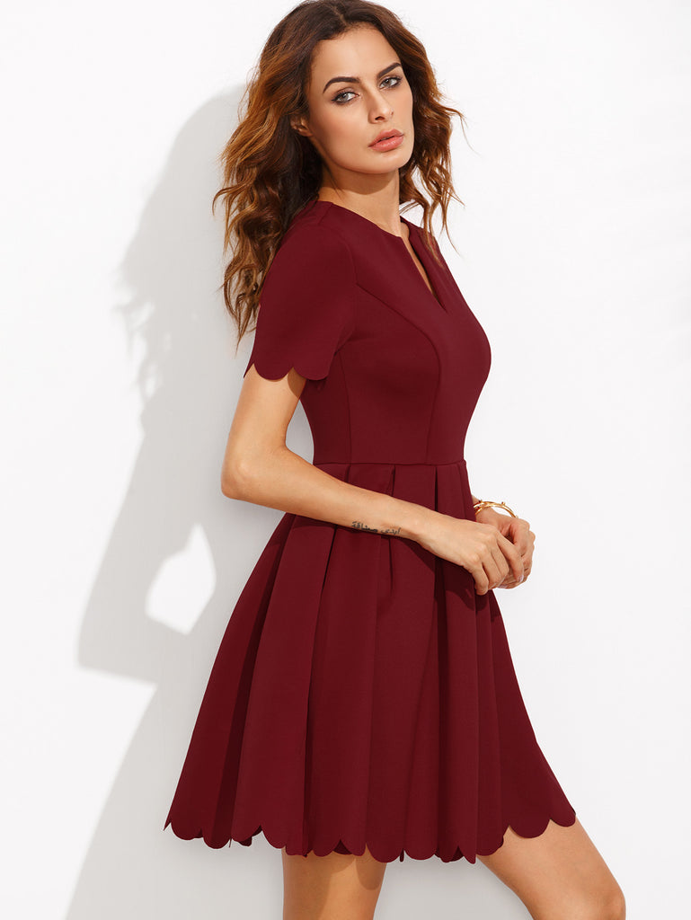 Burgundy Split Neck Scalloped Trim Fit And Flare Dress - The Style Syndrome  - 3