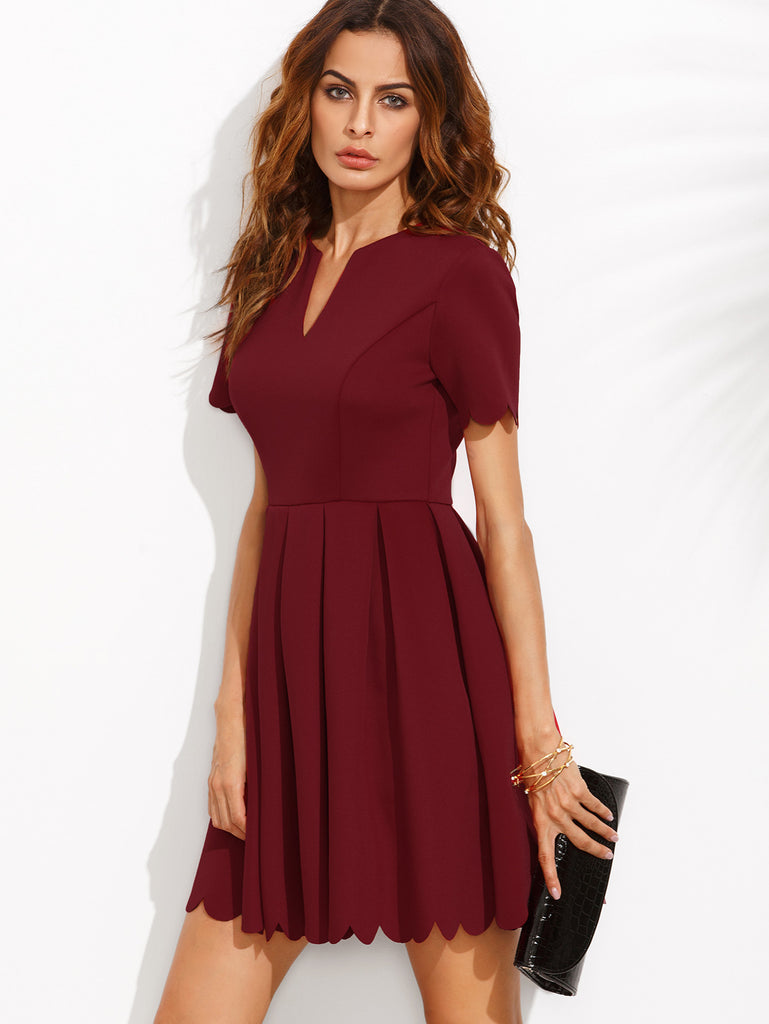 Burgundy Split Neck Scalloped Trim Fit And Flare Dress - The Style Syndrome  - 2