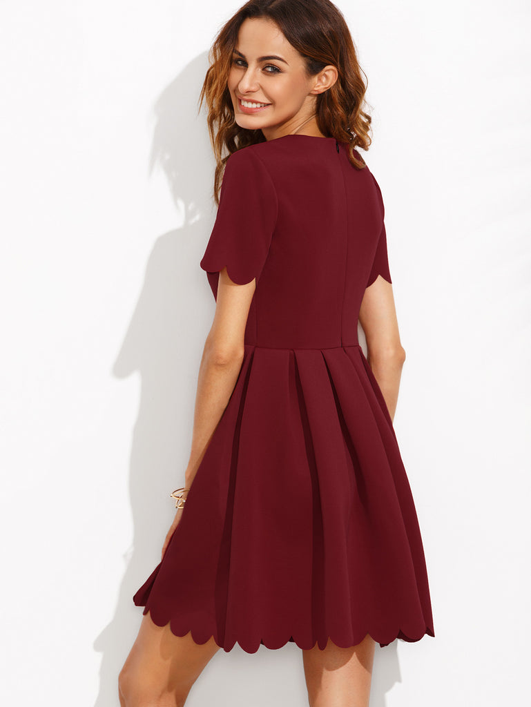 Burgundy Split Neck Scalloped Trim Fit And Flare Dress - The Style Syndrome  - 4